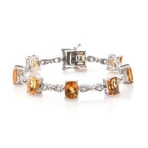 Dan's Collector Deal Brazilian Citrine, White Topaz Platinum Over Sterling Silver Bracelet (6.50 In) TGW 17.96 cts.