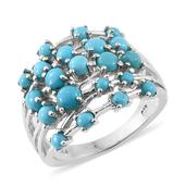 Arizona Sleeping Beauty Turquoise Platinum Over Sterling Silver Ring (Size 5.0) TGW 2.71 cts.