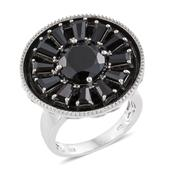 Thai Black Spinel 14K YG and Platinum Over Sterling Silver Statement Ring (Size 7.0) TGW 8.50 cts.