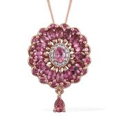 Morro Redondo Pink Tourmaline, Cambodian Zircon 14K RG Over Sterling Silver Pendant With Chain (20 in) TGW 1.94 cts.