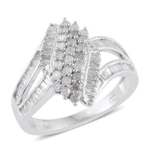 Diamond Platinum Over Sterling Silver Split Ring (Size 6.0) TDiaWt 1.00 cts, TGW 1.00 cts.