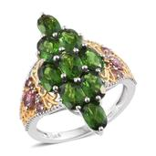 Russian Diopside, Pink Tourmaline 14K YG and Platinum Over Sterling Silver Ring (Size 5.0) TGW 4.30 cts.