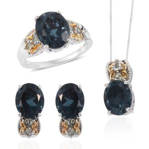 Indicolita Quartz, Green Tanzanite Platinum Over Sterling Silver Earrings, Ring (Size 10) and Pendant With Chain (20 in) TGW 19.51 cts.