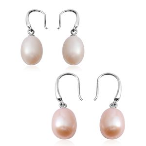 Set of 2 Freshwater Peach and White Pearl Silvertone Drop Earrings