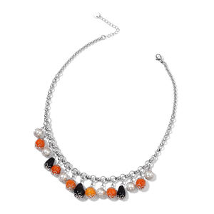 Agate, Simulated Pearl, Black Onyx Stainless Steel Drop Charm Necklace (18 in) TGW 105.00 cts.