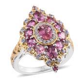 Morro Redondo Pink Tourmaline, Tanzanite, Cambodain Zircon 14K YG and Platinum Over Sterling Silver Ring (Size 5.0) TGW 3.34 cts.