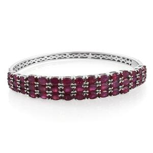 Niassa Ruby (FF) Platinum Over Sterling Silver Bangle (7.25 in) TGW 24.55 cts.