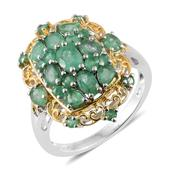 Kagem Zambian Emerald 14K YG and Platinum Over Sterling Silver Ring (Size 9.0) TGW 2.61 cts.