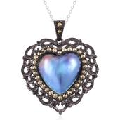 Mabe Blue Pearl, Swiss Marcasite Black Rhodium Over and Sterling Silver Heart Pendant With Chain (18 in) TGW 8.46 cts.