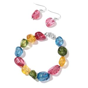 Multi Color Austrian Crystal Silvertone Bracelet (7.25 In) and Earrings