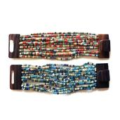 Blue and Red Seed Bead Set of 2 Bracelets with Wooden Lock (Stretchable)