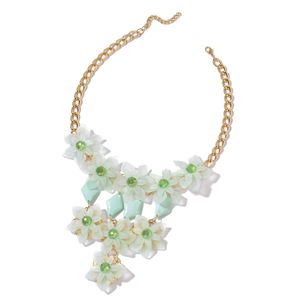 TLV Green Chroma, Green Glass Goldtone Necklace (20 in) TGW 175.00 cts.
