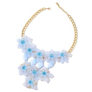 TLV Blue Chroma, Blue Glass Goldtone Necklace (20 in) TGW 175.00 cts.