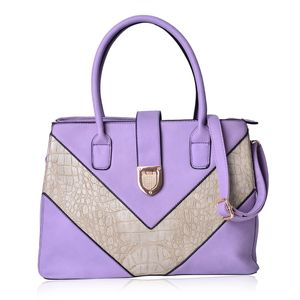 Lavender and Cream Faux Leather Croco V Pattern Spacious Tote Bag with Bottom Standing Studs (14x6x10 in)