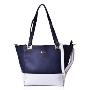 Navy Blue and White Faux Leather Tote Bag (16x10.7x5x11 in)