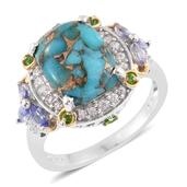Mojave Blue Turquoise, Multi Gemstone 14K YG and Platinum Over Sterling Silver Ring (Size 7.0) TGW 7.32 cts.