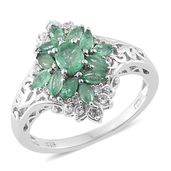 Kagem Zambian Emerald, Cambodian Zircon Platinum Over Sterling Silver Ring (Size 10.0) TGW 1.28 cts.