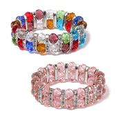 Set of 2 Multi Color Glass, White Austrian Crystal Bracelets (Stretchable)