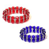 Set of 2 Red and Blue Glass, White Austrian Crystal Bracelets(Stretchable)