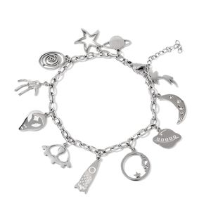 Austrian Crystal Stainless Steel Galaxy Charm Bracelet (6.50 In)