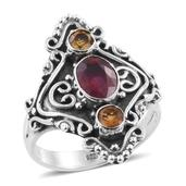 Artisan Crafted Niassa Ruby, Brazilian Citrine Sterling Silver Ring (Size 7.0) TGW 2.42 cts.