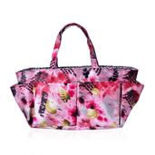 Pink with Multi Color Flower Printed 100% Polyester Storage Caddy (12x3x6 In)