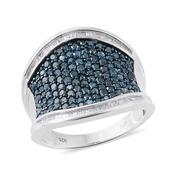 Blue Diamond (IR), Diamond Blue Rhodium and Platinum Over Sterling Silver Concave Cluster Ring (Size 10.0) TDiaWt 2.00 cts, TGW 2.00 cts.