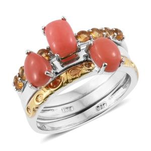 Oregon Peach Opal, Brazilian Citrine 14K YG and Platinum Over Sterling Silver Stackable Rings (Size 8.0) TGW 2.39 cts.