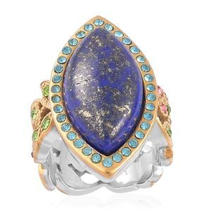 Lapis Lazuli, Multi Color Austrian Crystal ION Plated YG and Stainless Steel Ring (Size 9.0) TGW 8.90 cts.