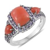 Oregon Peach Opal, Tanzanite Platinum Over Sterling Silver Ring (Size 10.0) TGW 3.97 cts.