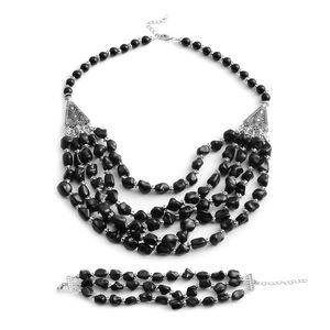Black Howlite Silvertone Triple Row Bracelet (7.5-9.50 In) and Drape Necklace (20.00 In) TGW 970.00 cts.
