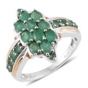 Kagem Zambian Emerald 14K YG and Platinum Over Sterling Silver Ring (Size 6.0) TGW 2.34 cts.
