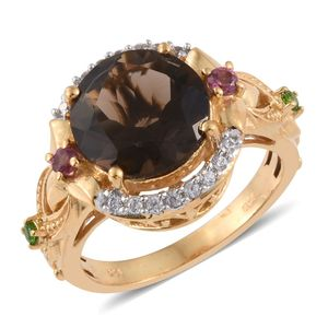 Brazilian Smoky Quartz, Multi Gemstone 14K YG Over Sterling Silver Ring (Size 6.0) TGW 6.12 cts.