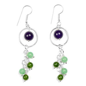 LC DIY Purple and Green Quartz Silvertone Earrings Kit TGW 23.80 cts.