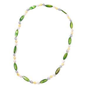 Green Shell, Freshwater Multi Color Pearl Necklace (32 in)