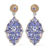 Tanzanite 14K YG and Platinum Over Sterling Silver Dangle Earrings TGW 4.42 cts.