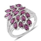 Srikant's Showstopper Purple Garnet, Diamond Accent Platinum Over Sterling Silver Ring (Size 6.0) TGW 3.36 cts.