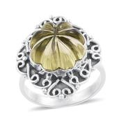 Artisan Crafted Brazilian Lemon Quartz Carved Sterling Silver Engraved Ring (Size 8.0) TGW 14.81 cts.
