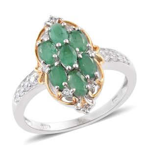Kagem Zambian Emerald, Cambodian Zircon 14K YG and Platinum Over Sterling Silver Ring (Size 9.0) TGW 1.89 cts.