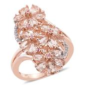 Marropino Morganite, Madagascar Pink Sapphire, Cambodian Zircon 14K RG Over Sterling Silver Elongated Floral Split Ring (Size 8.0) TGW 3.29 cts.