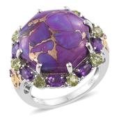 Mojave Purple Turquoise, Amethyst, Hebei Peridot 14K YG and Platinum Over Sterling Silver Ring (Size 10.0) TGW 22.91 cts.