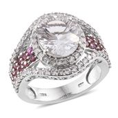 Petalite, Pink Tourmaline, Cambodian Zircon Platinum Over Sterling Silver Statement Ring (Size 10.0) TGW 6.13 cts.