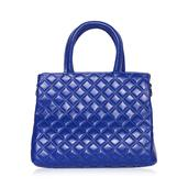 Royal Blue Genuine Leather Checker Stitched Structure Bag with Removeable Shoulder Strap (45 in)(11x4.5x9 in)