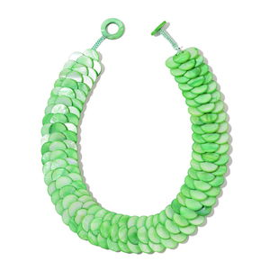 Green Coin Shell Necklace (18 in)