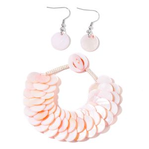 Pink Shell Stainless Steel Bracelet (7.50 In) and Earrings