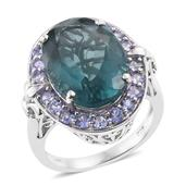 Karen's Fabulous Finds Blue Fluorite, Tanzanite Platinum Over Sterling Silver Ring (Size 7.0) TGW 17.25 cts.