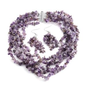 Amethyst Multi Strand Silvertone Drape Chip Necklace with Slide Lock Clasp (18 in) and Matching Chandelier Shepherd Hook Earrings TGW 875.00 cts.