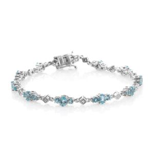 Madagascar Paraiba Apatite, Cambodian Zircon Platinum Over Sterling Silver Bracelet (7.50 In) TGW 5.08 cts.