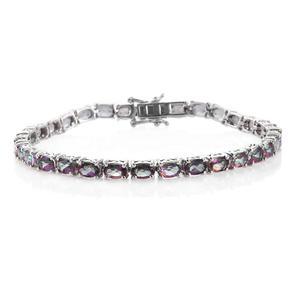 Northern Lights Mystic Topaz Platinum Over Sterling Silver Bracelet (8.00 In) TGW 17.28 cts.