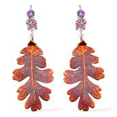 Nature's D'Or Lacey Oak Leaf Dipped in Red Copper, Amethyst, Orissa Rhodolite Garnet Platinum over Sterling Silver Dangle Earrings Total Gem Stone Weight 4.52 Carat